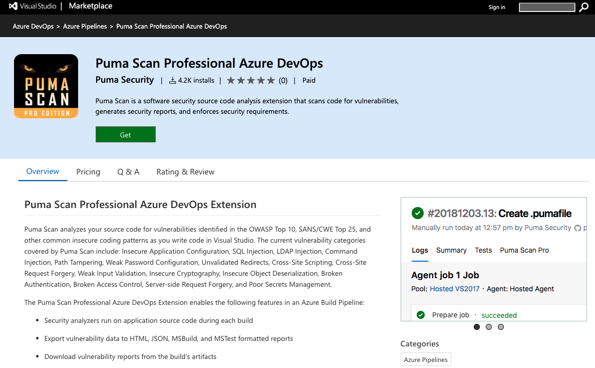 Puma Scan Azure DevOps Extension