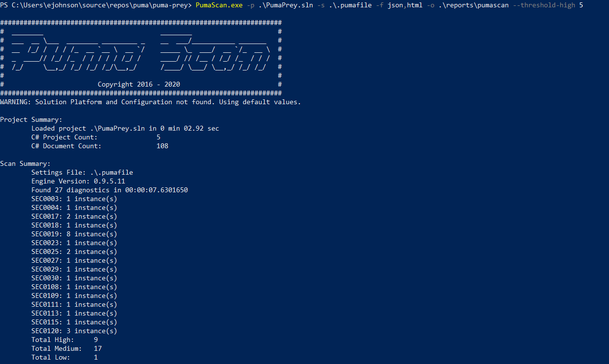 Running Puma Scan from the Command Line